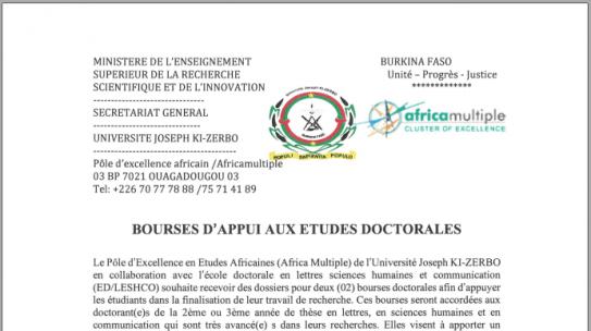 Bourses d'appui aux études doctorales
