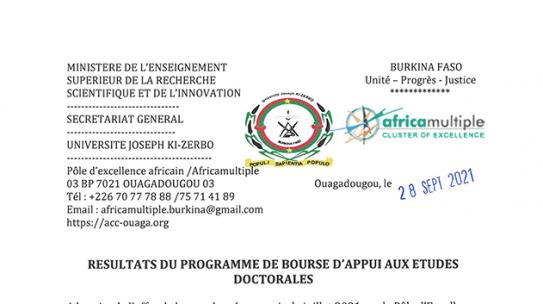 Bourse PEA/UJKZ: Résultats du programme de bourse d'appui aux études doctorales