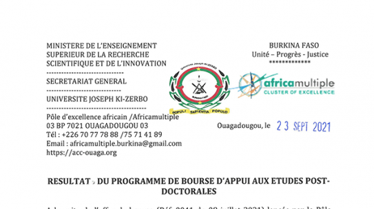 Bourse PEA/UJKZ: Résultats du programme de bourse d'appui aux études post-doctorales