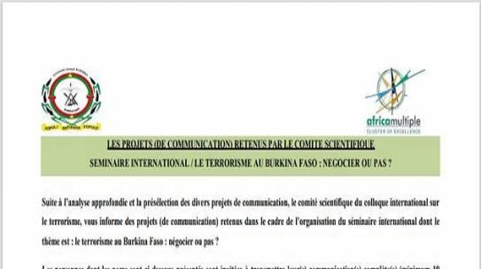 Séminaire international sur le terrorisme au Burkina Faso: 37 projets de communication retenus par le comité scientifique